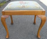 SOLD - Light Walnut Framed Upholstered Stool